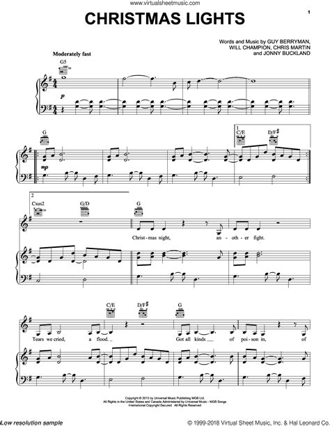 coldplay christmas lights sheet music for voice piano