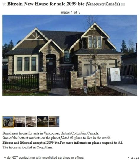 For Sale Vancouver by Vancouver House For Sale In Bitcoin A Sign Of Suspicious