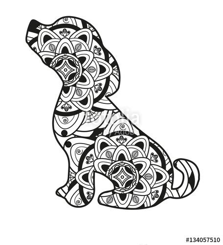 """""""Vector illustration of a dog mandala for coloring book"""