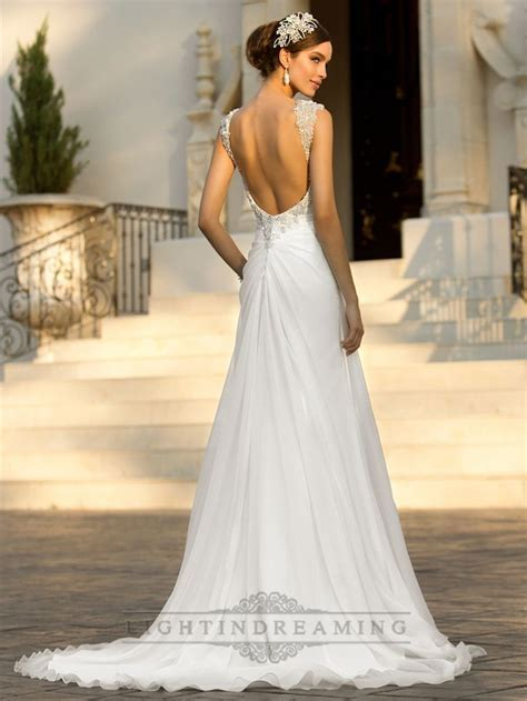 Beaded Cap Sleeves Sweetheart A line Simple Wedding
