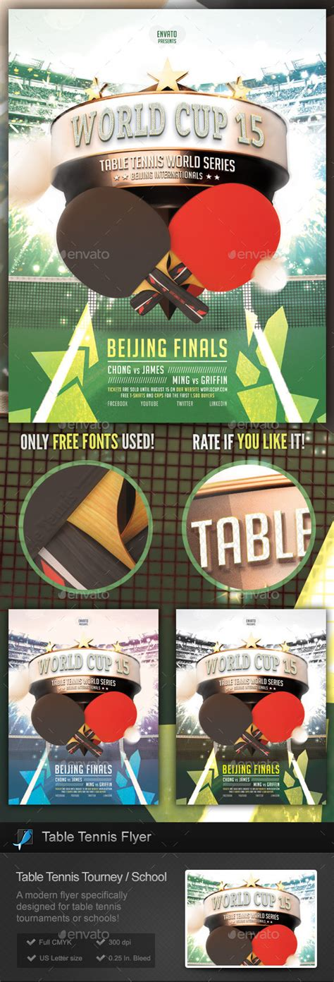Table Tennis Tournament School Flyer On Behance Ping Pong Tournament Flyer Template