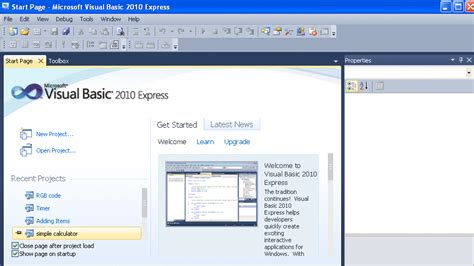 tutorial visual web developer 2010 express visual basic 2010 express tutorial 1