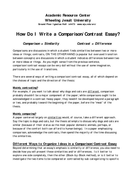 How To Write A Comparison Report Template Writing A Compare And Contrast Essay Compare Contrast