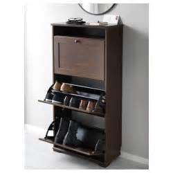 Ikea Grevback Shoe Cabinet Brusali Shoe Cabinet With 3 Compartments Brown 61x130 Cm