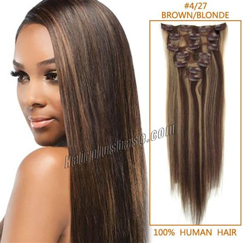 Hair Clip Asli Human Hair 22 inch 4 27 brown clip in human hair extensions 10pcs