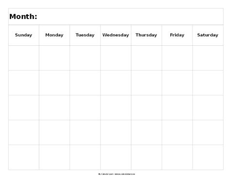 5 Week Calendar Template blank 5 day week calendar calendar template 2016