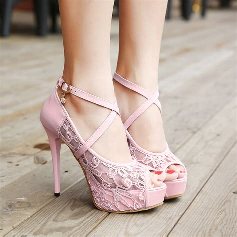 pink high heels cheap cheap fashion peep toe hollow out lace patchwork