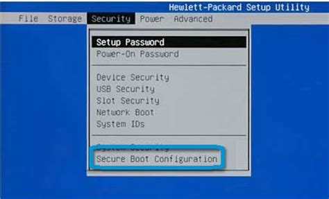 booting from network device system security user password