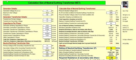 calculate size of neutral earthing transformer net excel
