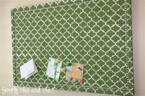 upholstery board simply this and that stenciled fabric cork board