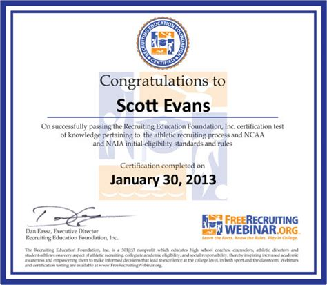 Certification Freerecruitingwebinar Org Scholar Athlete Award Template
