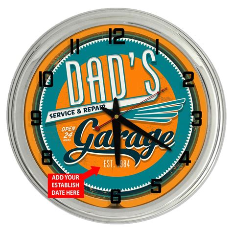 s garage 17 quot personalized neon clock from redeye