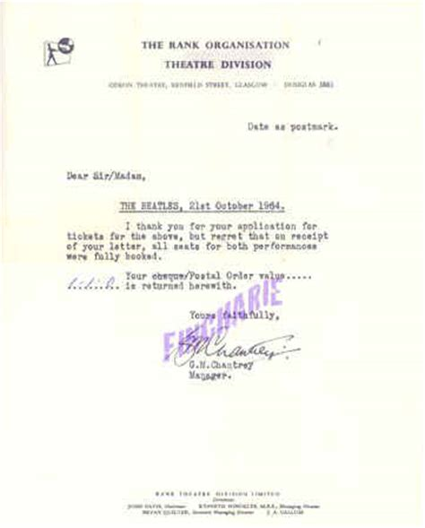 Request Letter Bournemouth 9th October To 11th November 1964