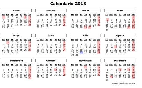 Calendario 2018 Festivos As 237 Ser 225 El Calendario Laboral De 2018