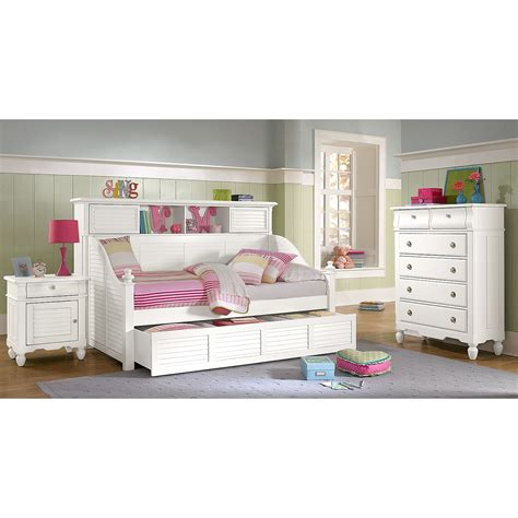 Daybed With Bookcase Seaside White Ii Bookcase Daybed With Trundle American Signature Furniture