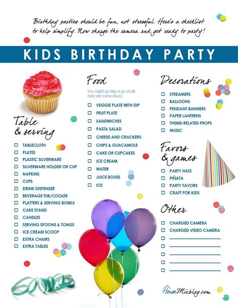 list of themes for parties kids birthday party checklist birthdays birthday party