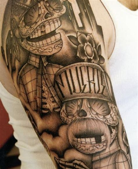 gangster sleeve tattoo designs 16 gangsta tattoos on half sleeve
