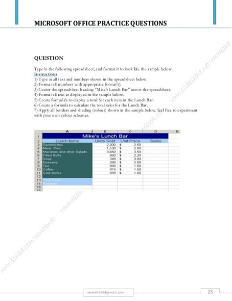 Microsoft Package Microsoft Office Package Practical Questions