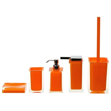 Bathroom Accessories Orange District17 Rainbow 5 Bathroom Accessory Set In Orange Bathroom Accessories