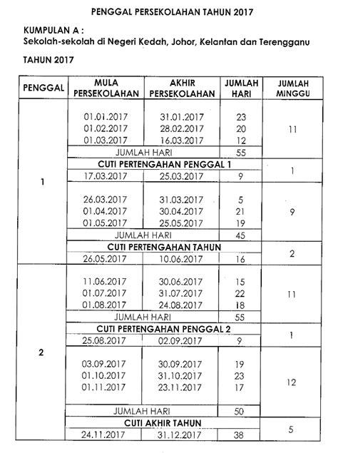 Kalender 2018 Kementerian Agama Tarikh Cuti Sekolah 2017 Kalendar Takwim Penggal Persekolahan
