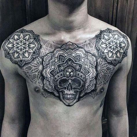 chest tattoo reddit floral pattern skull mens nice upper chest tattoos 187 club