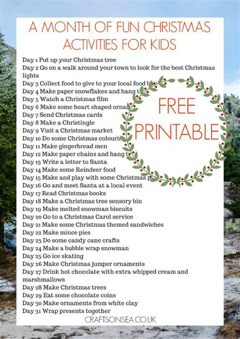 christmas activities for kids a month of activities for free printable crafts on sea