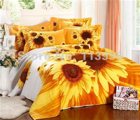 hot sell sunflowers bedding set 4pc sets high quality