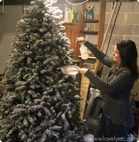diy flocked christmas tree one year later lovely etc