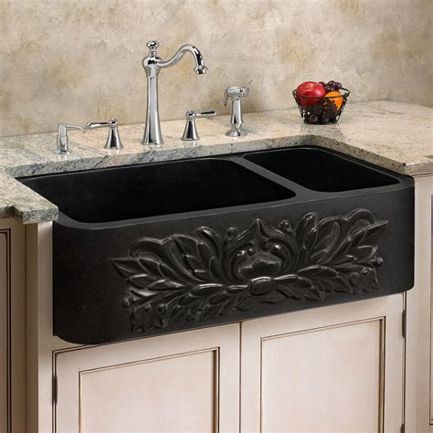 Black Farm Sinks For Kitchens 33 Quot 70 30 Offset Bowl Polished Granite Farmhouse Sink In Black Ebay