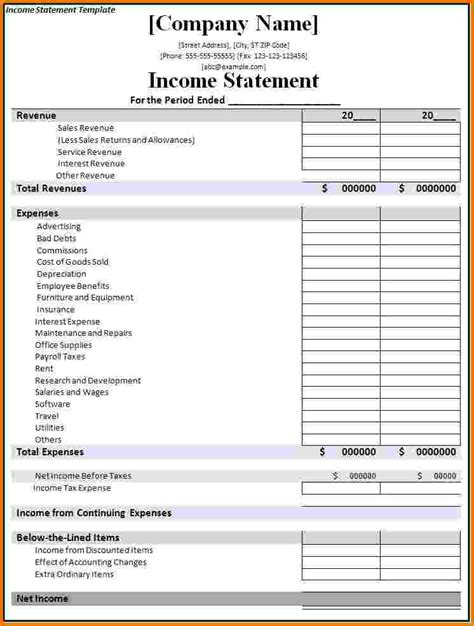 12 business financial statement template financial