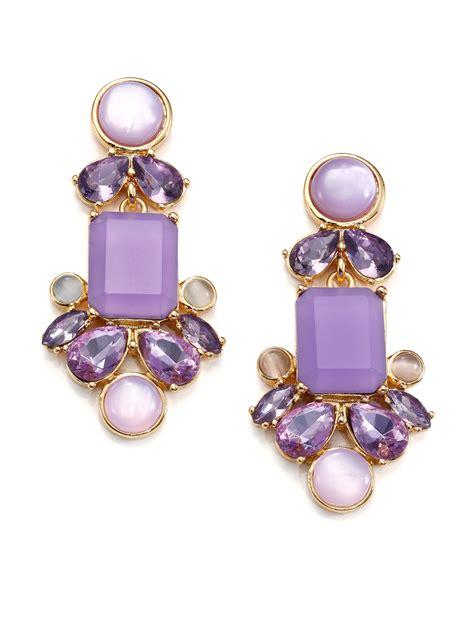 Kate Spade Earing 0oru1624 kate spade new york glitzy spritz statement drop earrings in purple lyst