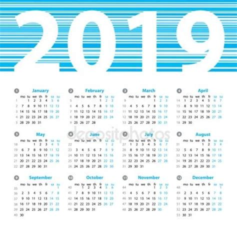 Calendar With Photos Calendar 2019 Year Vector Design Template With Week