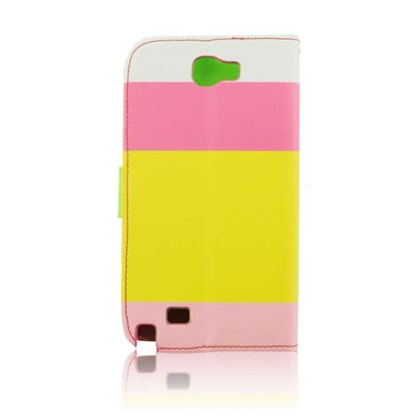 The Color For Galaxy Note 3 4 leather wallet color strips note 2 yellow pink galaxy