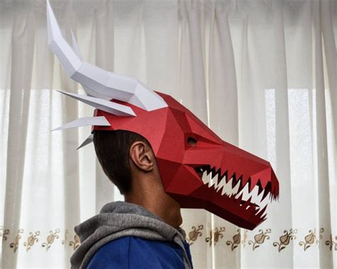 papercraft mask dragon diy paper craft  template