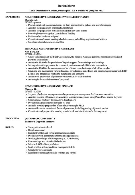 assistant finance manager resume format finance administrative assistant resume sles velvet