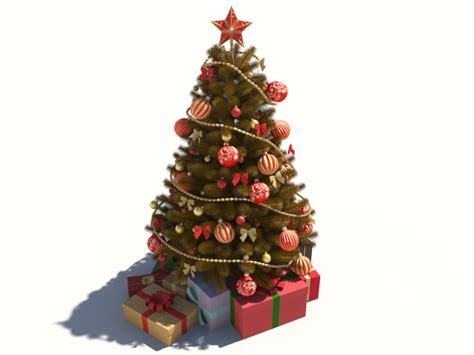 christmas tree golden decoration 3d model 3d models world