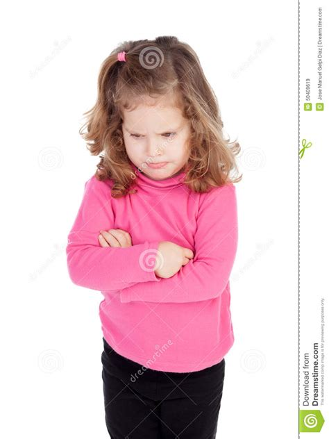 angry little girl in pink isolated on a white background angry little girl in pink stock photo image 50409619