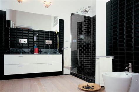black gloss bathroom tiles nc222358 black mirror bevel gloss subway wall tiles