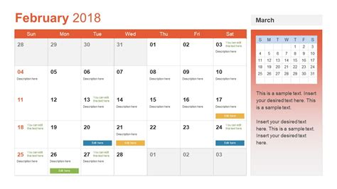 powerpoint calendar template free monthly calendar for 2018 ppt slidemodel