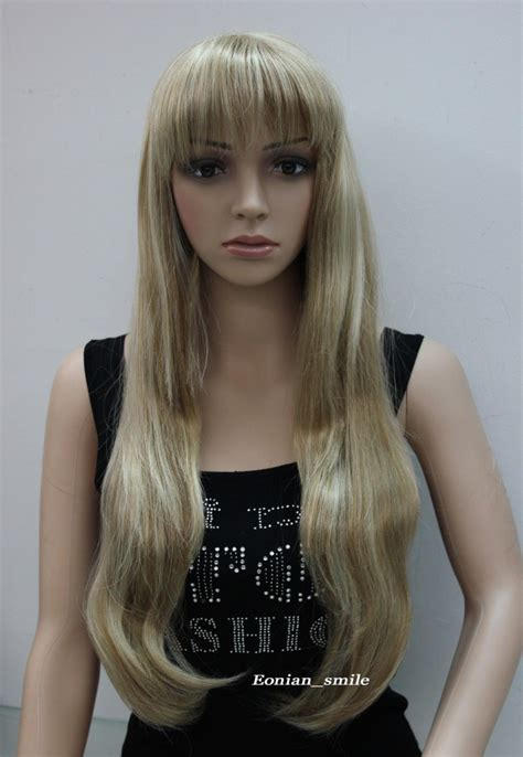 light straight bangs stylish light brown blonde mixed long straight bangs women