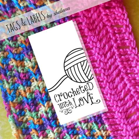 printable yarn labels printable pdf product tags or sticker labels crocheted with