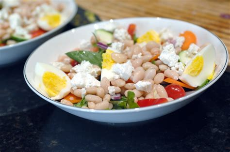 simple dishes simple food green salad with white beans boiled egg and
