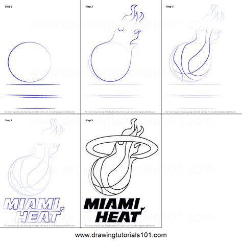 how to draw the heat logo how to draw miami heat logo printable step by step drawing