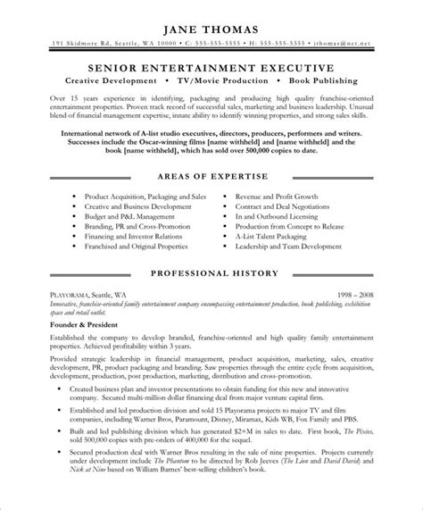 entertainment resume template entertainment executive page1 media communications