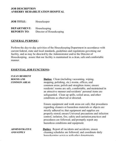 housekeeping responsibilities hospital housekeeper