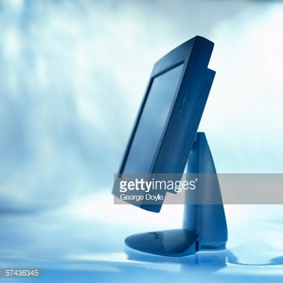 side profile of a flat screen computer monitor stock photo