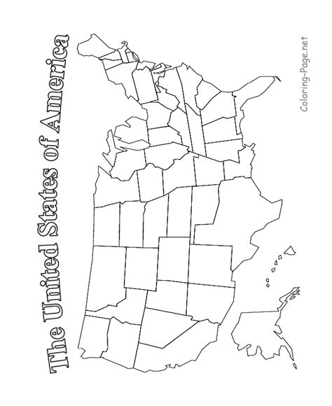 coloring book united states map usa map printable
