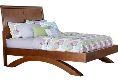 rooms to go california belcourt jr cherry 3 pc sleigh bed with arched base beds wood