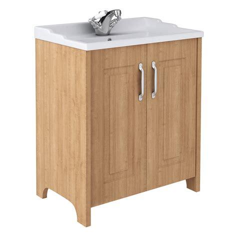 Devon Oak 800mm Traditional 2 Door Vanity Unit At Traditional Bathroom Vanity Units
