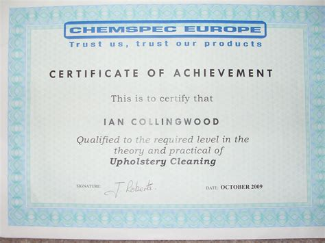 Upholstery Cleaning Certificate Coast Carpet Cleaners